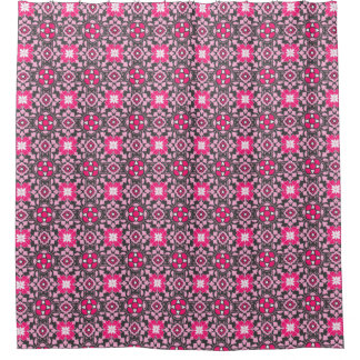 Floral Moroccan Tile Fuchsia Pink Amp Gray Grey Shower Curtain