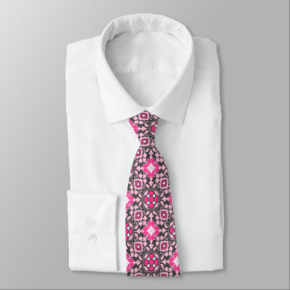 Floral Moroccan Tile, Fuchsia Pink & Gray / Grey Tie