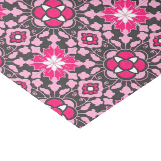 Floral Moroccan Tile, Fuchsia Pink & Gray / Grey Tissue Paper