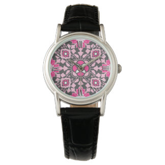 Floral Moroccan Tile, Fuchsia Pink & Gray / Grey Wristwatches
