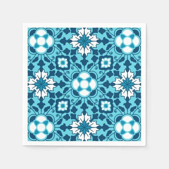 Floral Moroccan Tile, Indigo, Sky Blue and White