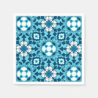 Floral Moroccan Tile, Indigo, Sky Blue and White Disposable Serviette