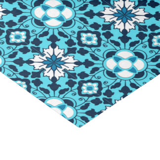 Floral Moroccan Tile, Indigo, Sky Blue and White Tissue Paper