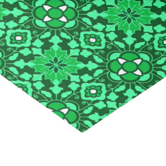 Floral Moroccan Tile, Light and Dark Jade Green Tissue Paper
