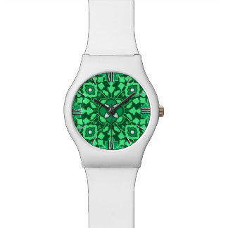 Floral Moroccan Tile, Light and Dark Jade Green Wrist Watches