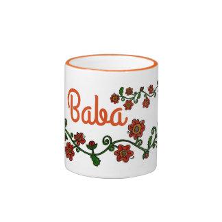 Floral Motif Ukrainian Folk Art Ringer Mug