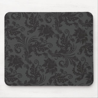 Floral Motives Guipure Black Mousepad