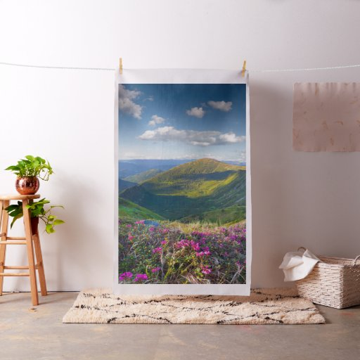 Floral Mountain Landscape Tapestry Fabric