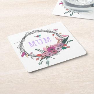 Floral Mum Square Paper Coaster