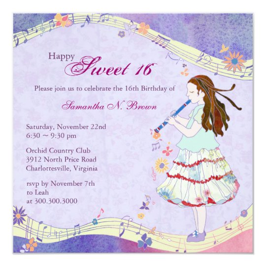 Floral Muse Sweet 16th Birthday Party Card