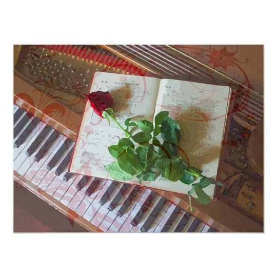 Floral Music Book Rose On Piano Poster