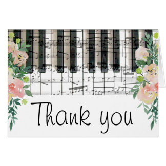 floral music piano keyboard thank you card