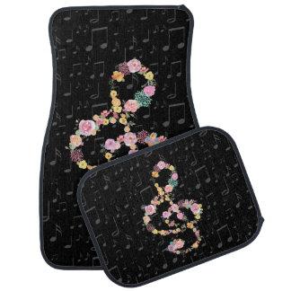 floral music treble clef car mat