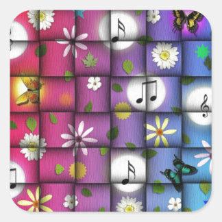 Floral Musical Plaid Square Sticker