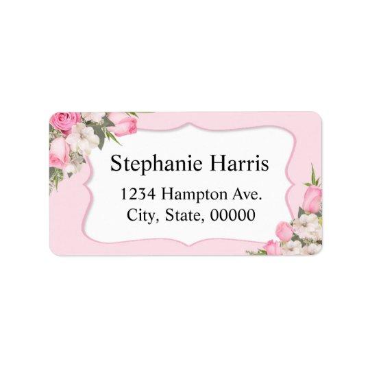 Floral Name Address Sticker Pink Roses
