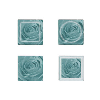 Floral Nature Abstract  Photo Vibrant Aqua Rose Stone Magnet