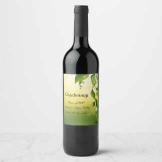 Floral Nature personalised wine bottle label