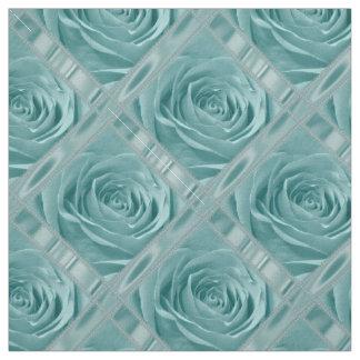 Floral Nature Photo Pretty Aqua Rose Blocks Fabric