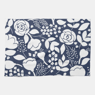 Floral navy blue and white kitchen towel