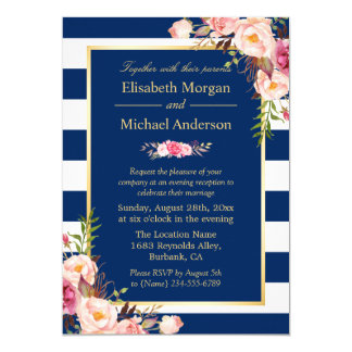 Floral Navy Blue Color Wedding Evening Invitation