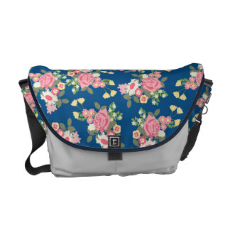 Floral navy pink messenger bag