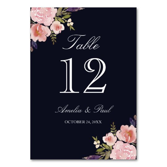 Floral Navy Pink Wedding Table Number Cards