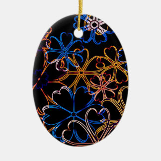 Floral Neon Christmas Ornament