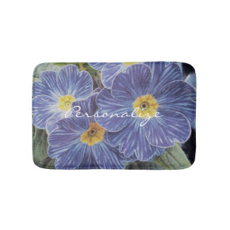 Floral non slip bath mat with blue flower photo bath mats