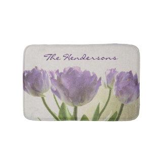 Floral non slip bath mat with purple tulip flowers bath mats