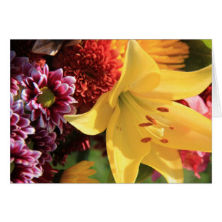Floral Note Cards, Yellow Amaryllis, Rust, Pink Card