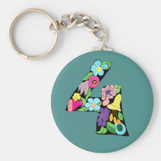 Floral Number Four 4 Cartoon Bright Stylish Cute Key Ring