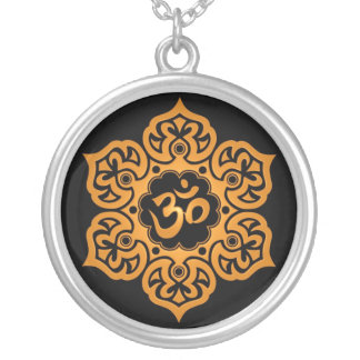 Floral Ohm Design (yellow & black) Silver Plated Necklace