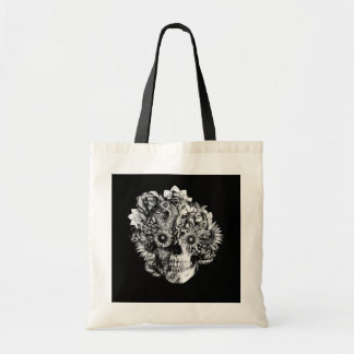 Floral Ohm Skull Illustration in black and white Bags