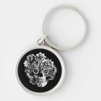 Floral Ohm Skull Illustration in black and white Key Chain