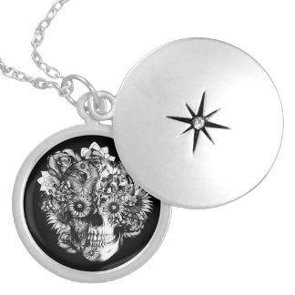 Floral Ohm Skull Illustration in black and white Pendant