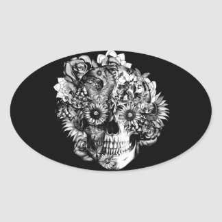 Floral Ohm Skull Illustration in black and white. Oval Sticker