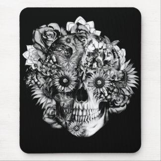 Floral ohm skull illustration in black/ white mouse mat