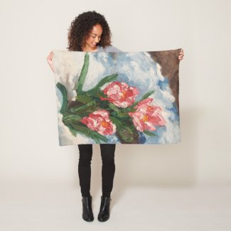 Floral oil painting art design spring flowers fleece blanket