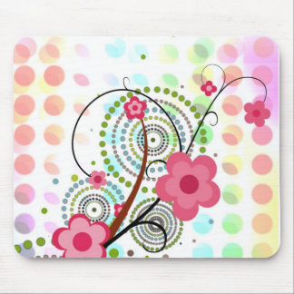 Floral on dots mouse mat