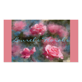 Floral or Flower Business Cards with Pink Roses