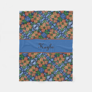 Floral Orange And Blue Pattern Personalized Name Fleece Blanket