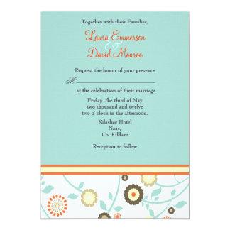 orange and turquoise wedding invitations. floral orange and blue wedding invitation turquoise invitations e