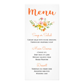Floral Orange Menu Lily Flowers - Pink Yellow