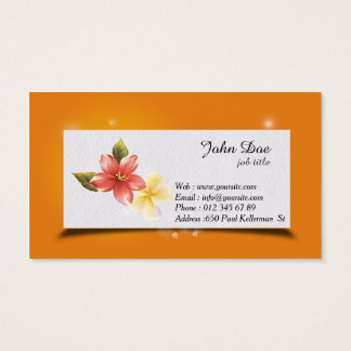 Floral orange minimalistic business card