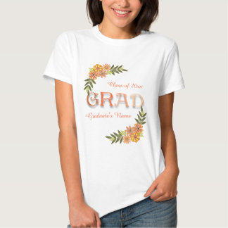 Floral Orange Ombre Graduation T-Shirt