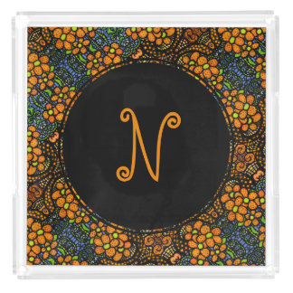 Floral Orange Pattern Custom Monogram Initial Acrylic Tray