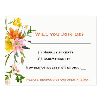 Floral Orange RSVP Lily Flowers - Wedding - Pink Postcard