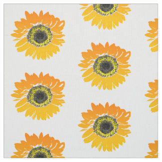 Floral Orange Watercolor Sunflowers Fabric