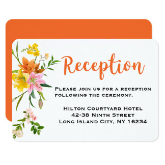 Floral Orange Wedding Reception Lily Pink Flowers Card