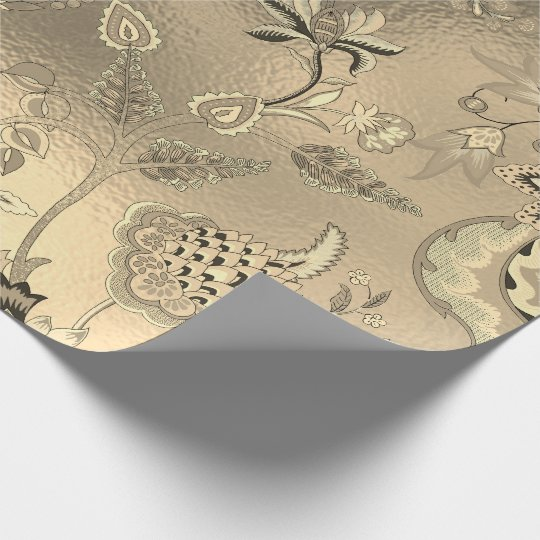 Floral Oriental Garden Gold Sepia Foxier Glass Wrapping Paper